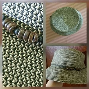 Woven Black White and Brown Bucket Hat